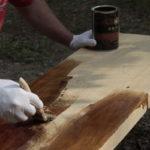 Ekotep - nakładanie na ławkę dębową